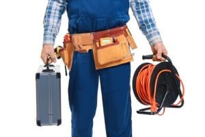 Electrician Holding Tools